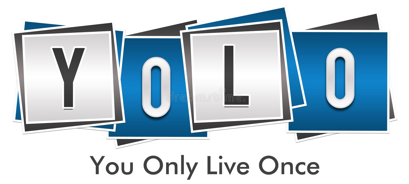 YOLO - Usted solamente Live Once Blue Grey Blocks libre illustration