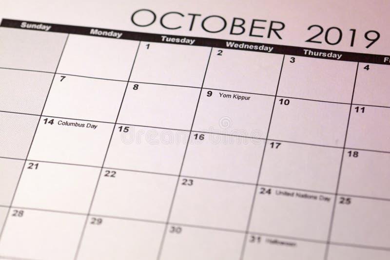 Yom Kippur στο εκλεκτικό ημερολόγιο εστίασης τον Οκτώβριο του 2019 εικόνα που τονίζεται στοκ φωτογραφία με δικαίωμα ελεύθερης χρήσης
