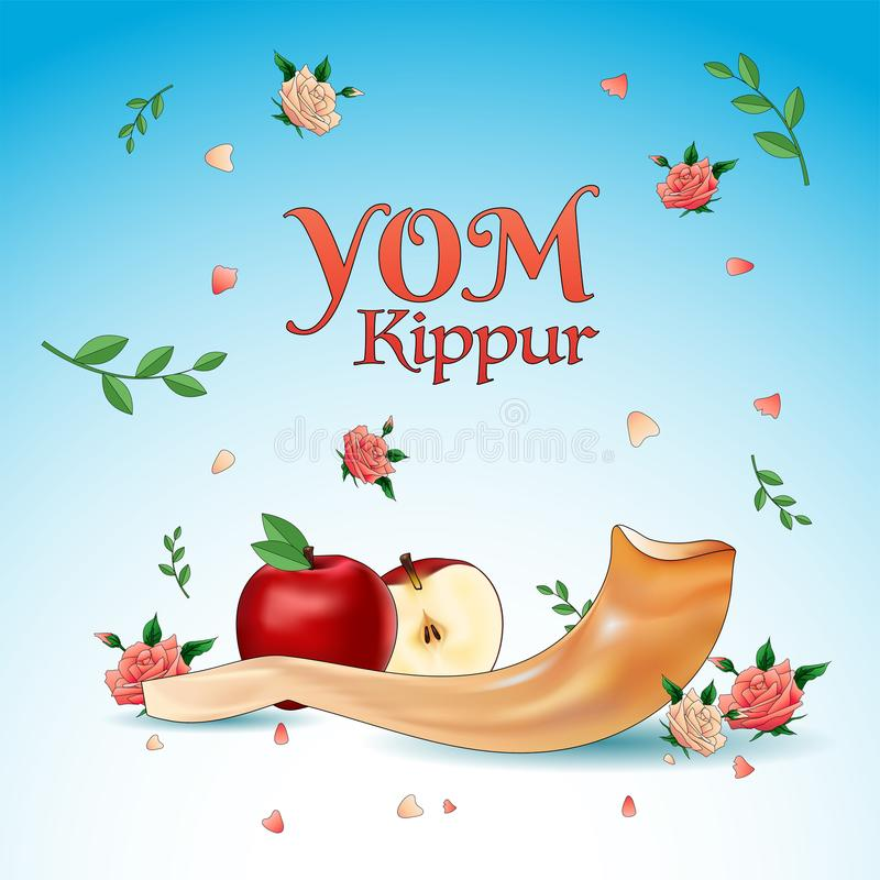 Yom Kippur banner or poster design, apple slice, shofar horn, rose flowers with leaves on baclground. royalty free illustration