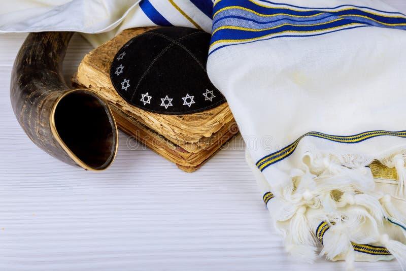 Yom Kippur, nowy rok, Shemini Atzeret Shmini Atzeret i Simchat Torah wakacyjny pojęcie z shofar tr, Rosh Hashanah Hashana żydowsk zdjęcia stock