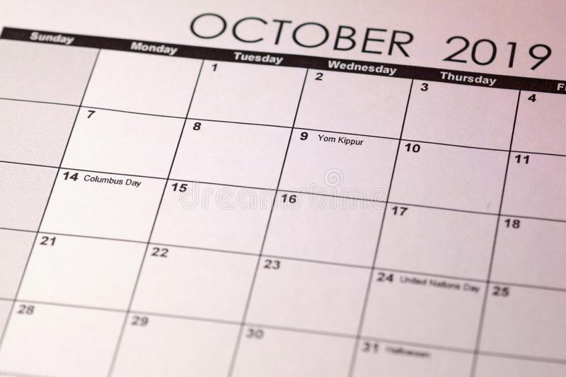 Yom Kippur in selective focus on October 2019 calendar. Toned image royalty free stock photo