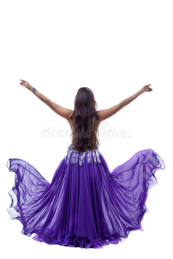 Yong arabia dancer posing with flying veil cloth royalty free stock photos