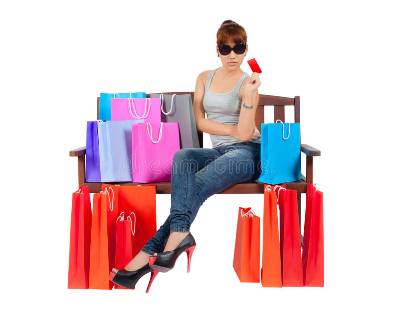 Yong Asian Woman With colorful Shopping Bags stock image