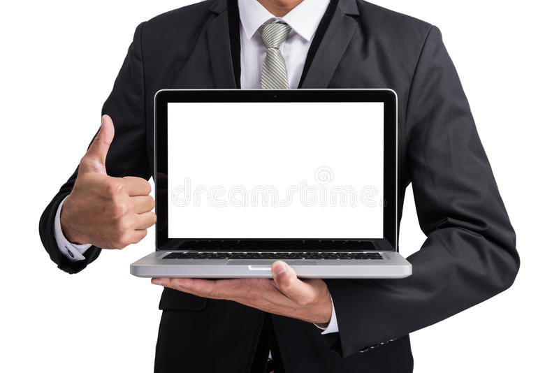 Yong businessman holding laptop computer showing screen display. Isolate on white background royalty free stock images