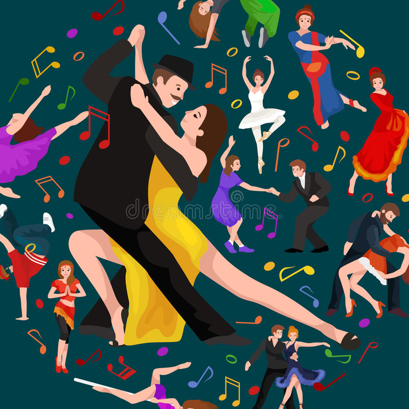 Yong couple man and woman dancing tango with passion, tango dancers vector illustration isolated. Dancing People, Dancer Bachata, Hiphop, Salsa, Indian, Ballet royalty free illustration
