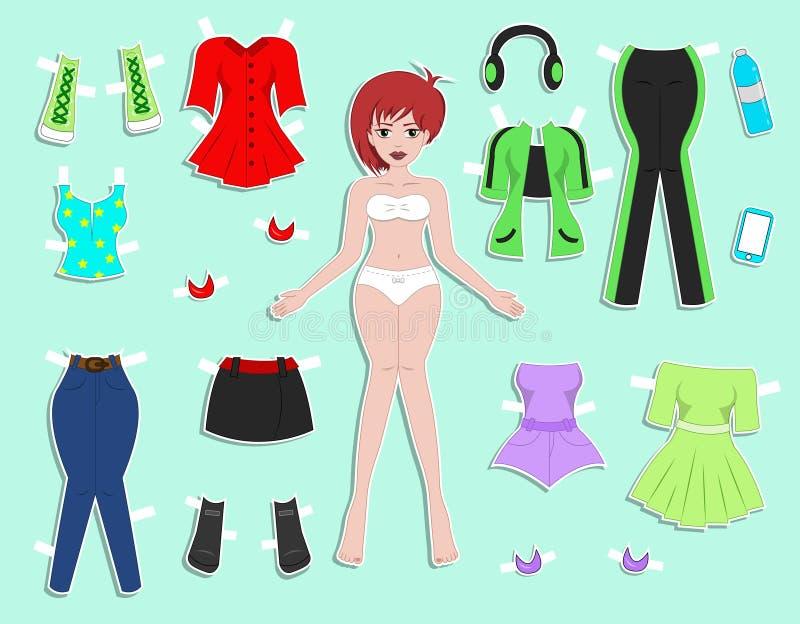 Yong för pappers- docka härlig flicka vektor illustrationer