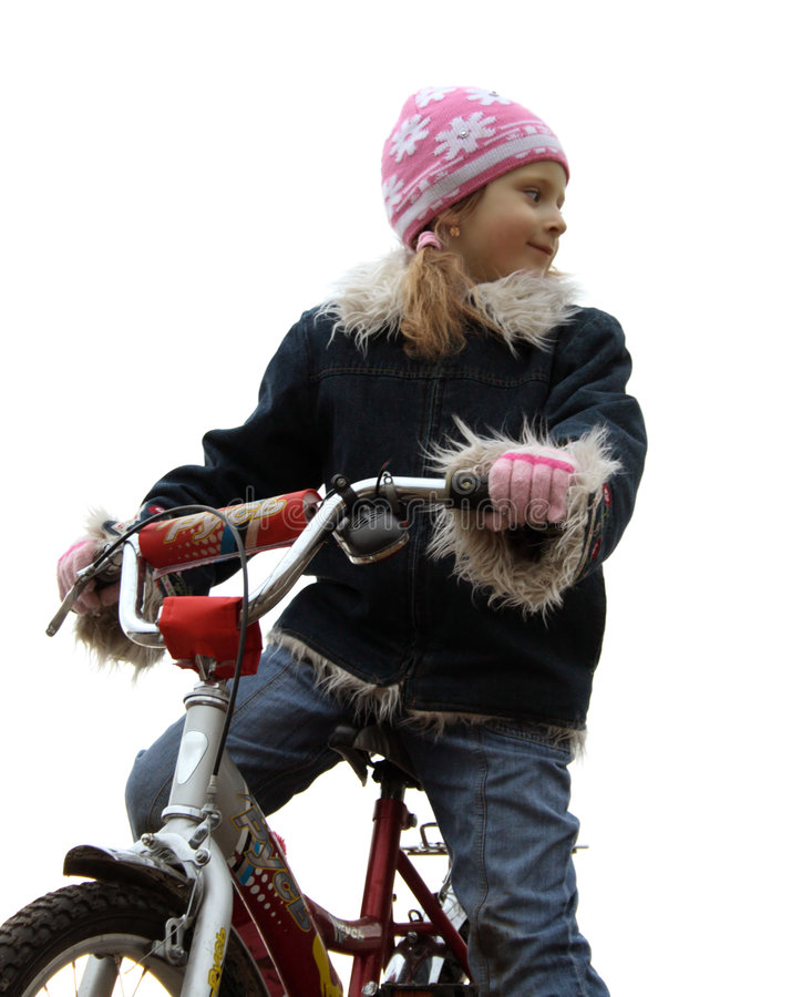 Download A Yong Girl On Bicycle Royalty Free Stock Photos - Image: 2321448