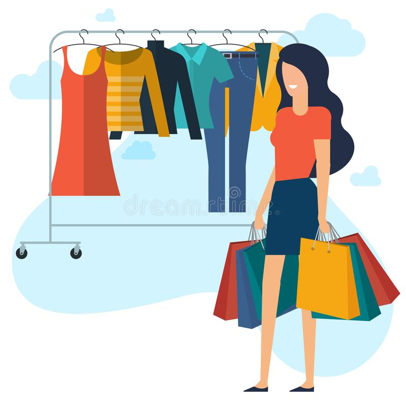 Yong kvinna på shopping vektor illustrationer