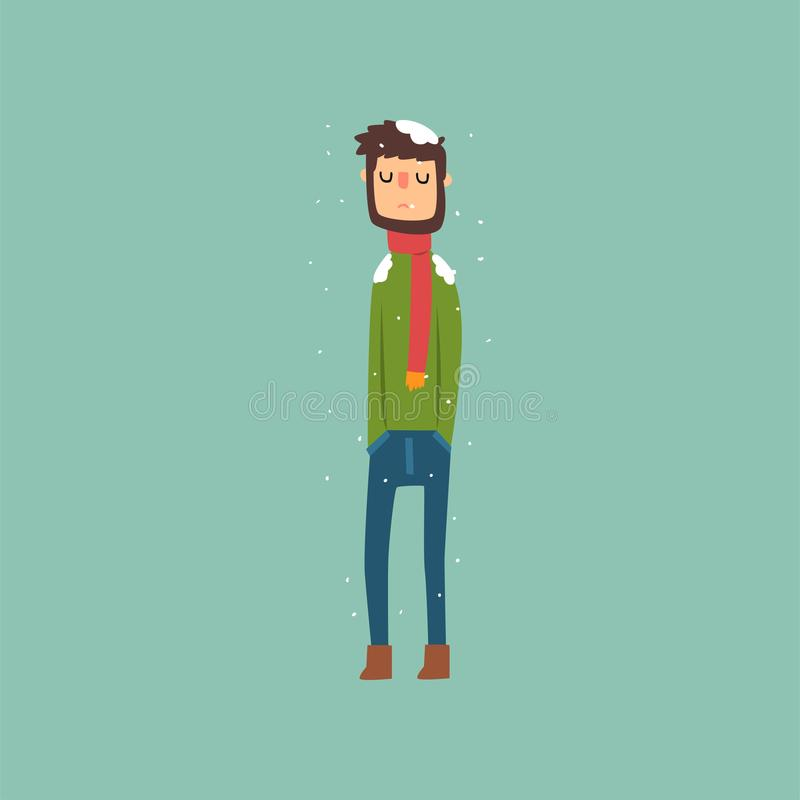 Yong man freezing in winter cold wearing woolen sweater with scarf vector Illustration. Flat style stock illustration