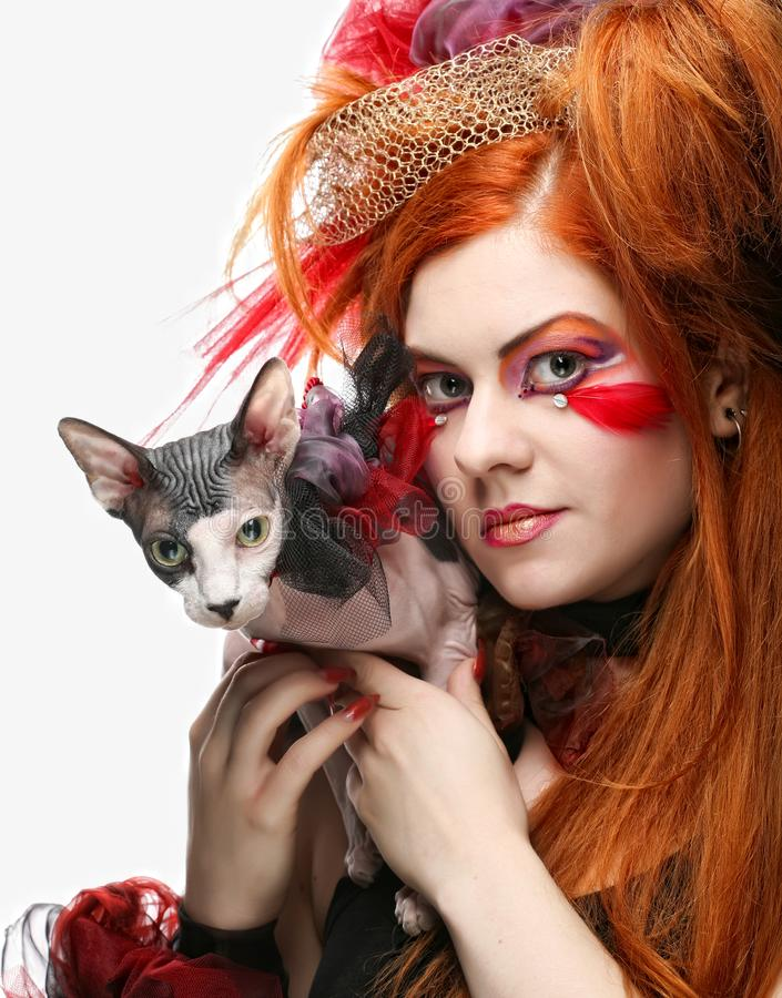 Free Yong Princess With Cat. Royalty Free Stock Image - 116686796