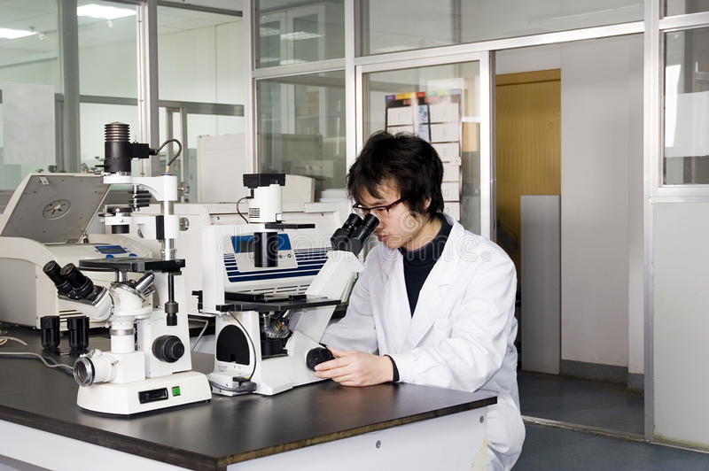 Yong Student Use Microscope Royalty Free Stock Image