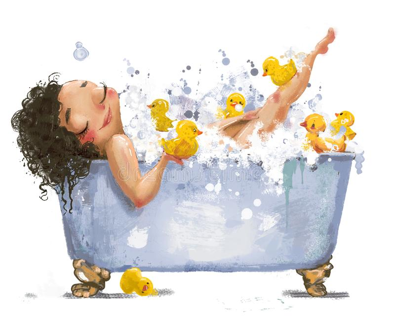 Yong woman in bath. With duck toys vector illustration