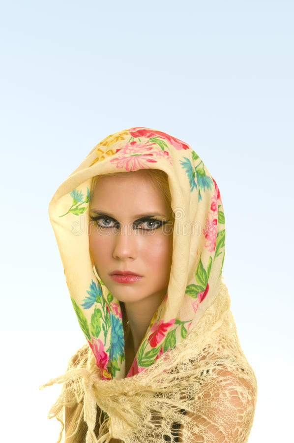 Download Yong Woman In Flower Print Kerchief Stock Photo - Image: 17302240
