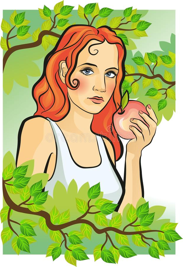 Yong women with an apple stock photo