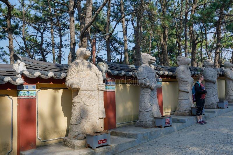 Yonggungsa Temple Animal Figures. Busan, South Korea - March 27, 2018 : Yonggungsa Temple Animal Figures in Busan, South Korea royalty free stock image