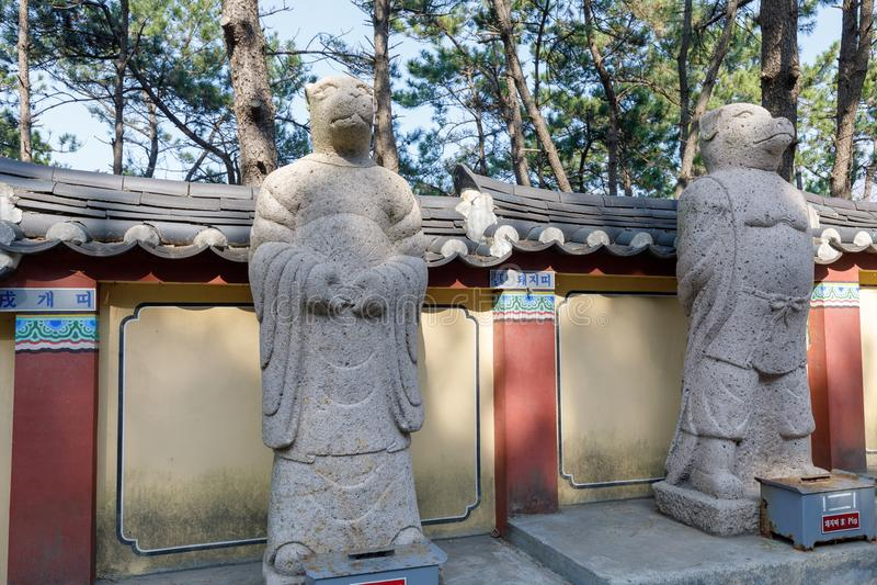 Yonggungsa Temple Animal Figures. Busan, South Korea - March 27, 2018 : Yonggungsa Temple Animal Figures in Busan, South Korea royalty free stock photos