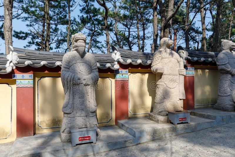 Yonggungsa Temple Animal Figures. Busan, South Korea - March 27, 2018 : Yonggungsa Temple Animal Figures in Busan, South Korea stock image
