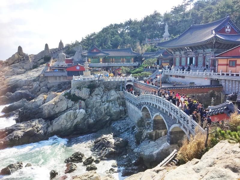 Yonggungsa temple on cliff in Busan. Tourist destination royalty free stock images