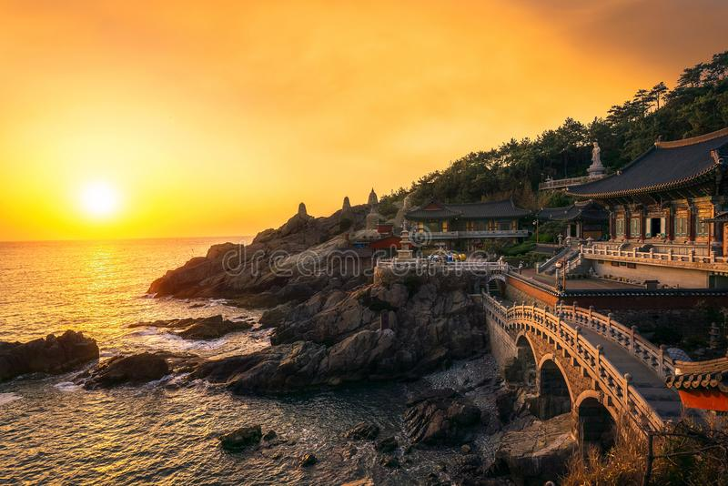 Yonggungsatemple temple. In Busan with seascape and sunset, Busan city, South Korea, Asia stock images