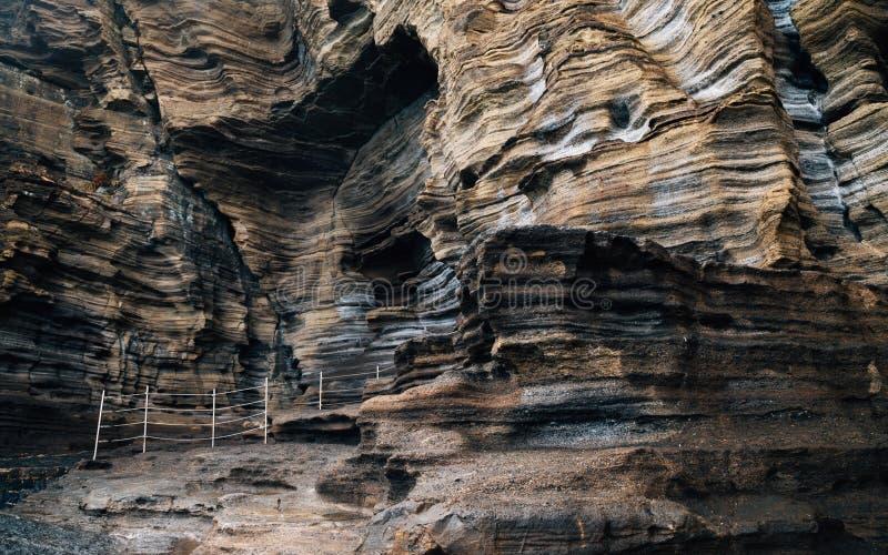 Yongmeori-Strandsandstein-Klippenfelsformation in Jeju-Insel, Korea lizenzfreie stockfotografie