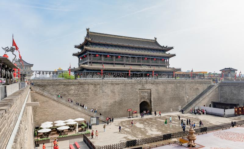 Yongning Gate South Gate of the City Wall in Xi'an or Xian. Shanxi, China, constructed during the early years of the Sui Dynasty and the landmark of the stock images
