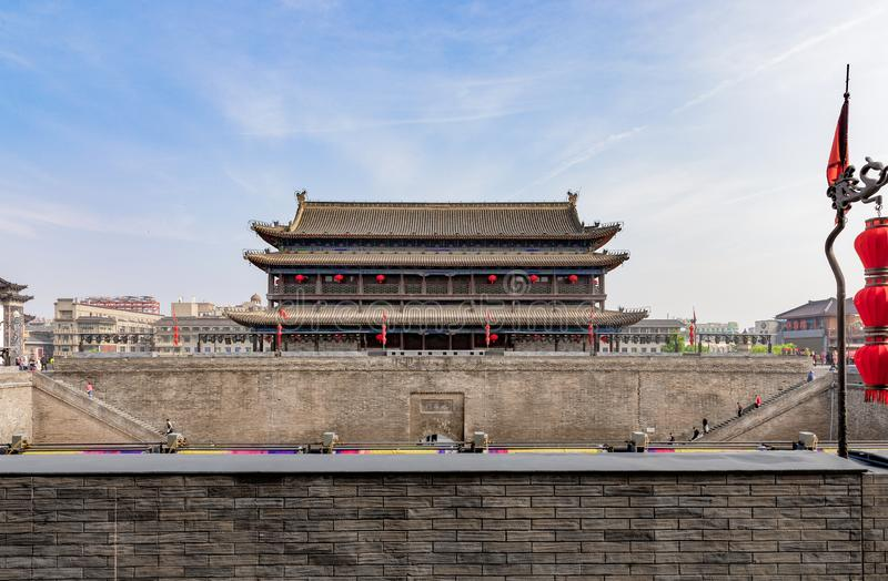 Yongning Gate South Gate of the City Wall in Xi'an. Shanxi, China, constructed during the early years of the Sui Dynasty and the landmark of the city stock photos