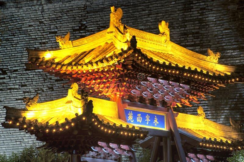Yongning Xi Yuan Gate Xian China-nachtmening royalty-vrije stock fotografie