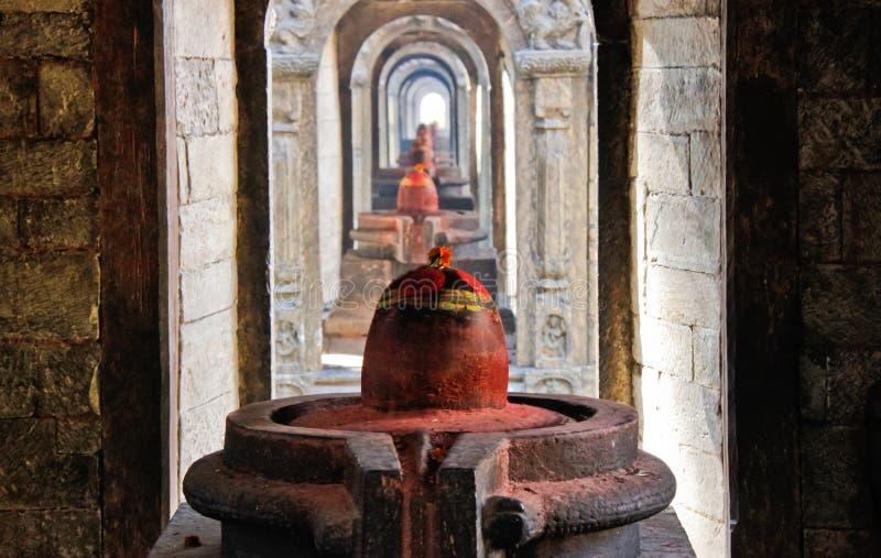 Yoni och Lingam i den Pashupatinath templet royaltyfri bild
