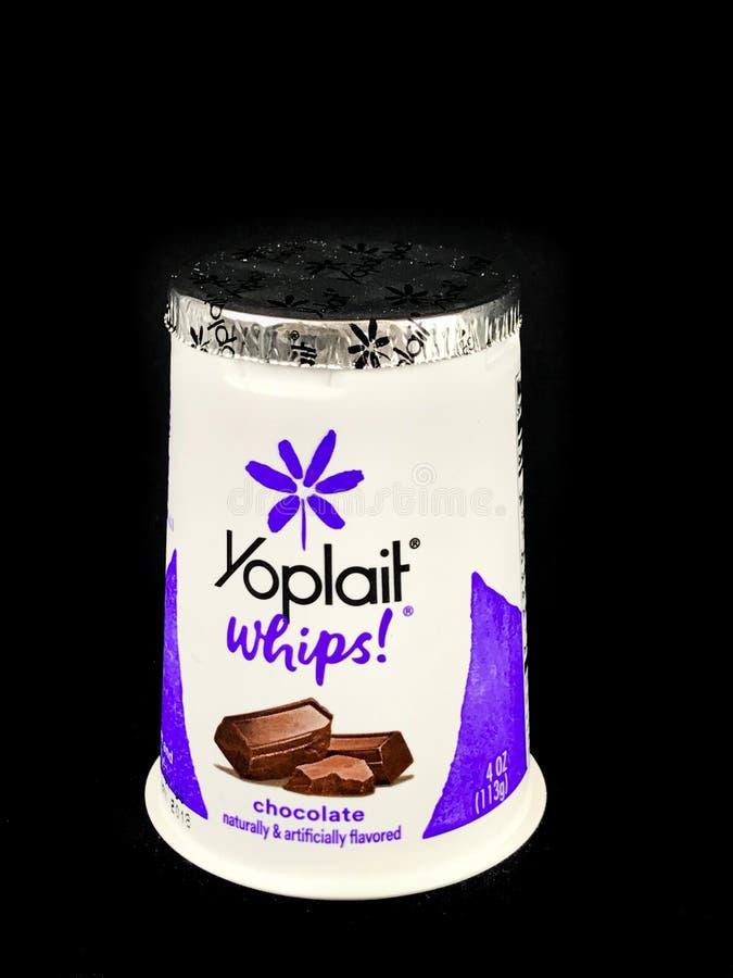 Yoplait ranselt Chocoladeyoghurt op een Zwarte Achtergrond royalty-vrije stock afbeelding