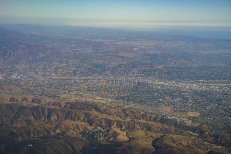 Yorba Linda鸟瞰图,从靠窗座位的看法在飞机 图库摄影