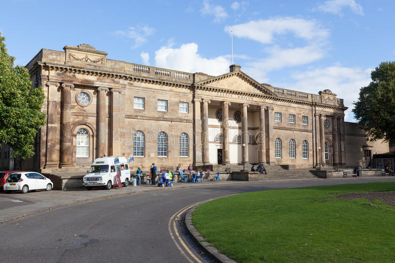 York Castle Museum. People outside the front of the York Castle Museum enjoying drinks from an old converted ambulance royalty free stock images