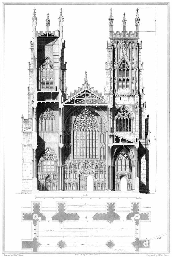 York Cathedral, Elevation and Section royalty free stock photos