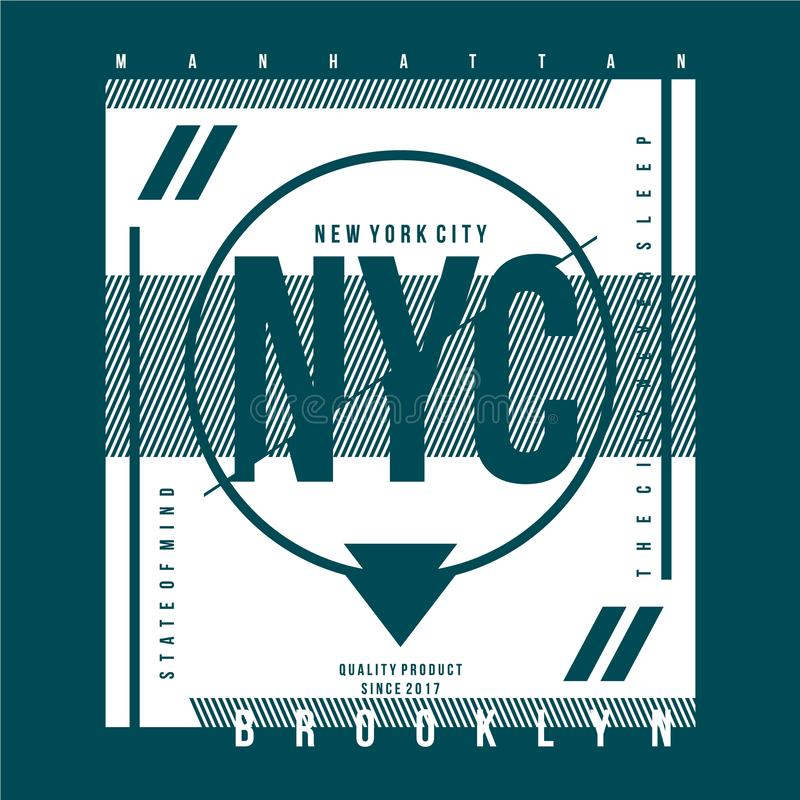 York City, diseño tipográfico para la impresión de camisetas, ilustraciones vectoriales stock de ilustración