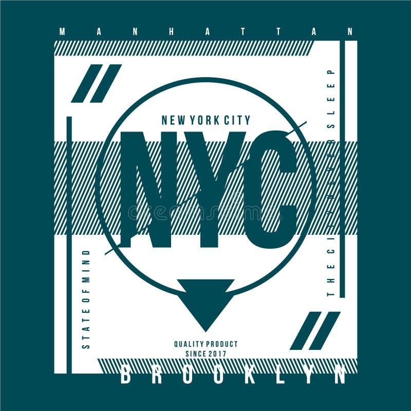 York City, typografische ontwerp voor T-shirt afdrukken, vectorafbeeldingen illustraties stock illustratie