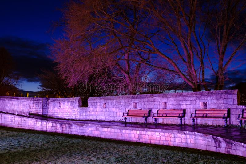 York City Wall at Night stock photo