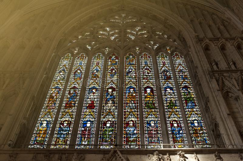 The Great West Window called Heart of Yorkshire, installed at the nave inside York Minster, UK stock image
