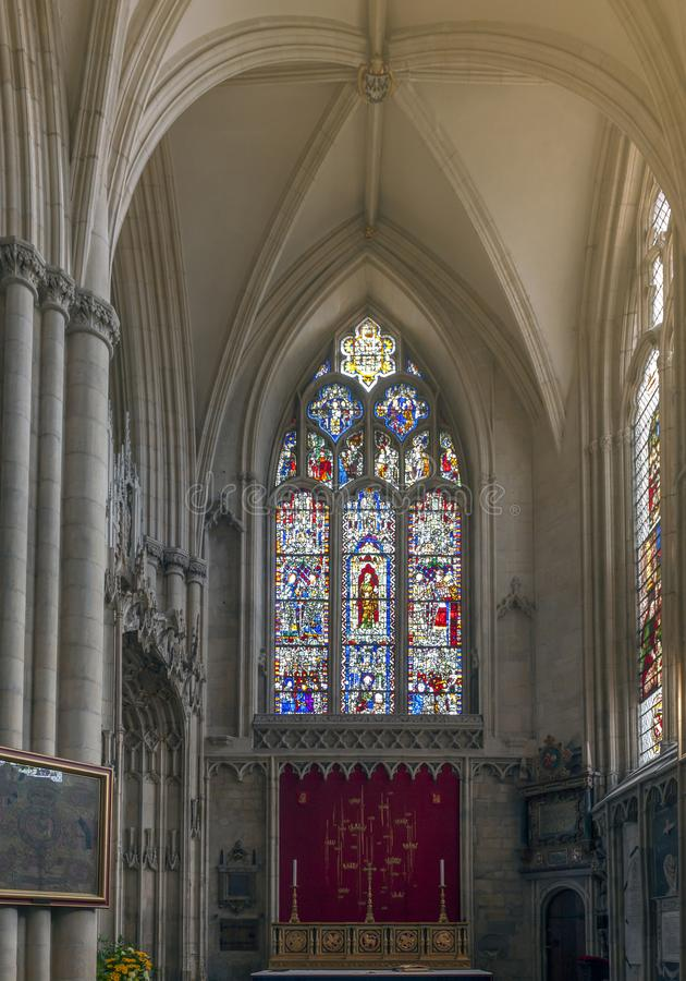 Medieval stained glass on east window of All Saints chapel inside cathedral of York Minster in City of York, England, UK. York, England - April 2018: Medieval royalty free stock photo