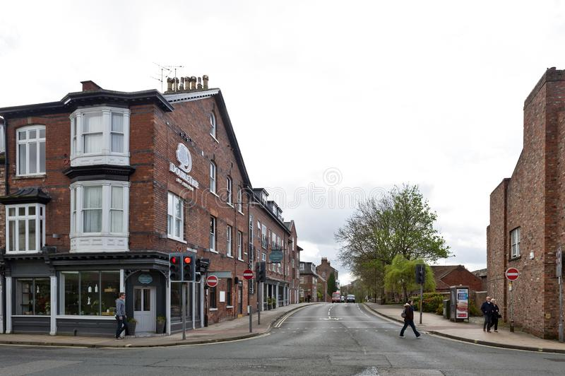 Old brick buildings at street corner on Monkgate and St Maurice Road in historic district of City of York, England, UK royalty free stock photos
