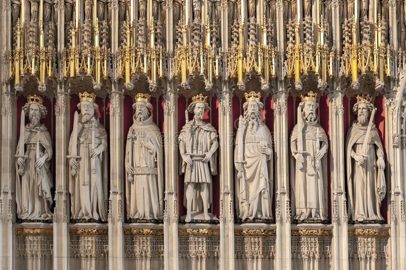The Kings Screen inside the cathedral of York Minster in the UK. York, England - April 2018: The15th century stone screen called The Kings Screen curtained royalty free stock photo