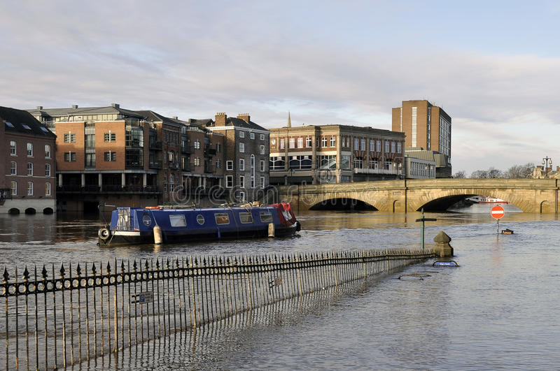 Download York Floods stock image. Image of boat, sign, water, railings - 28292487
