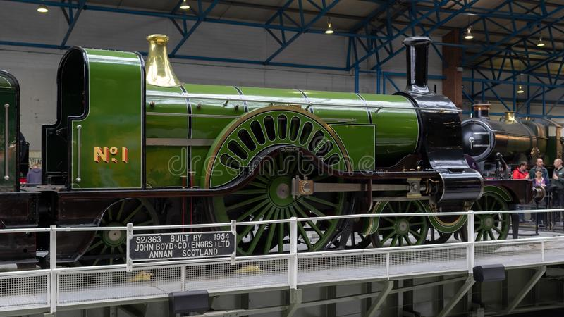 York, Inglaterra - 28 de julio de 2018: Locomotoras de vapor históricas y co imagen de archivo libre de regalías