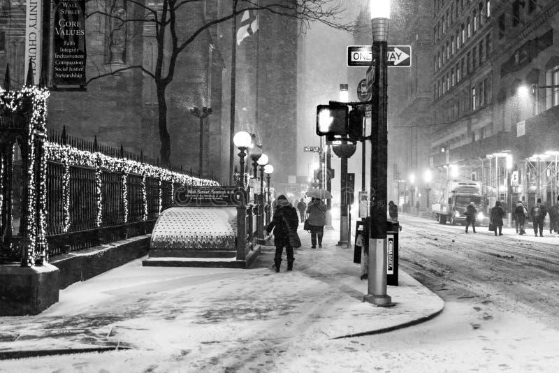 下雪在华尔街 免版税库存照片