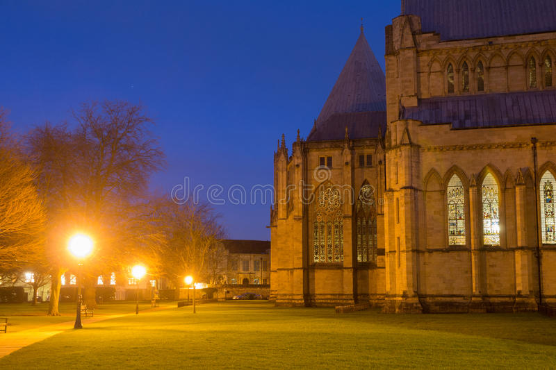 York Minster Cathedral At Night stock photo