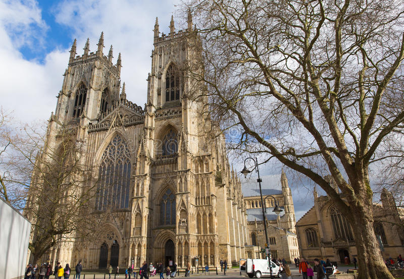 York Minster York England UK with people visiting. The historic cathedral and tourist attraction stock image