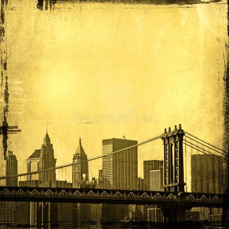 York nowa linia horyzontu Grunge wizerunek ilustracja wektor