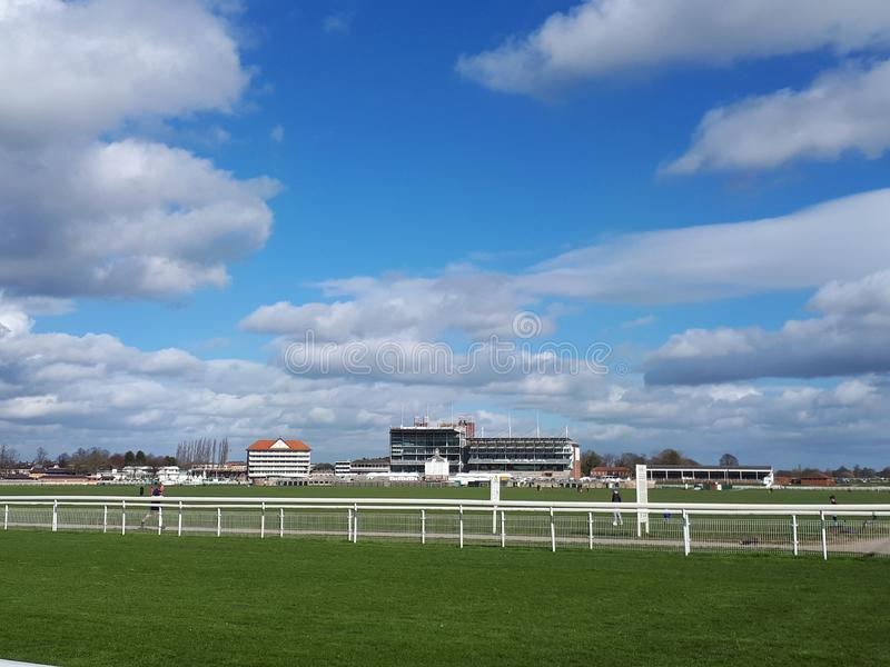 York Racecourse blue skies daytime. Knavesmire York England UK royalty free stock images