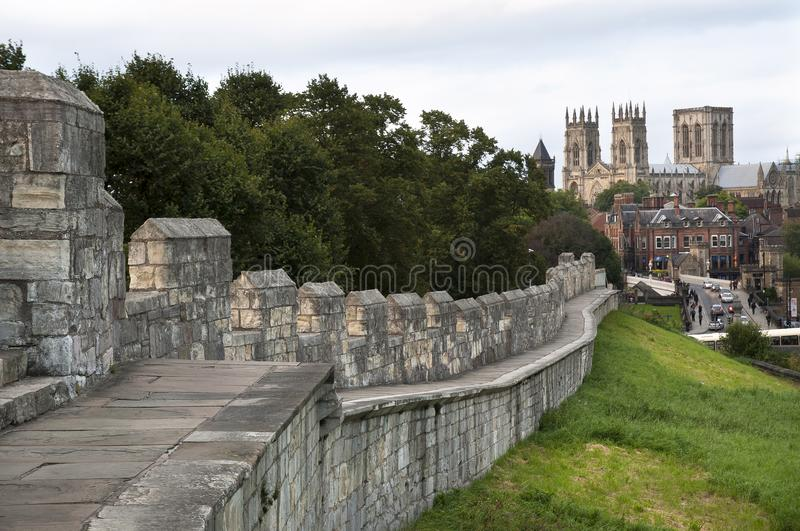York Minster seen from the city walls, York, UK royalty free stock photo