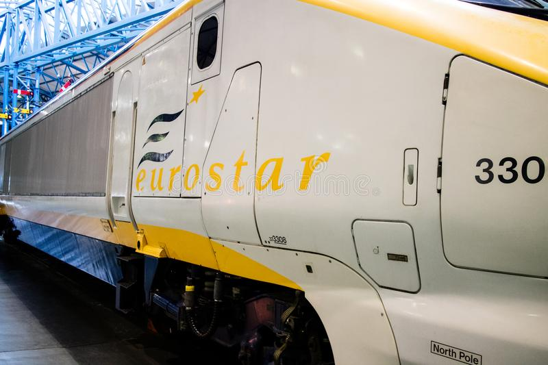 York, United Kingdom - 02/08/2018: An old model Eurostar train i. N the national railway museum in York, UK stock image