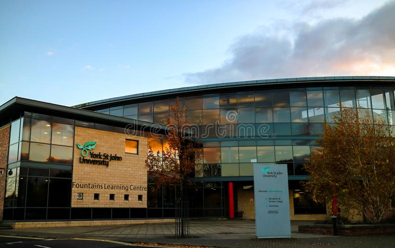 York, United Kingdom - 11/18/2017: York St. John`s Fountains Lea. Rning Centre and library during the day royalty free stock photo