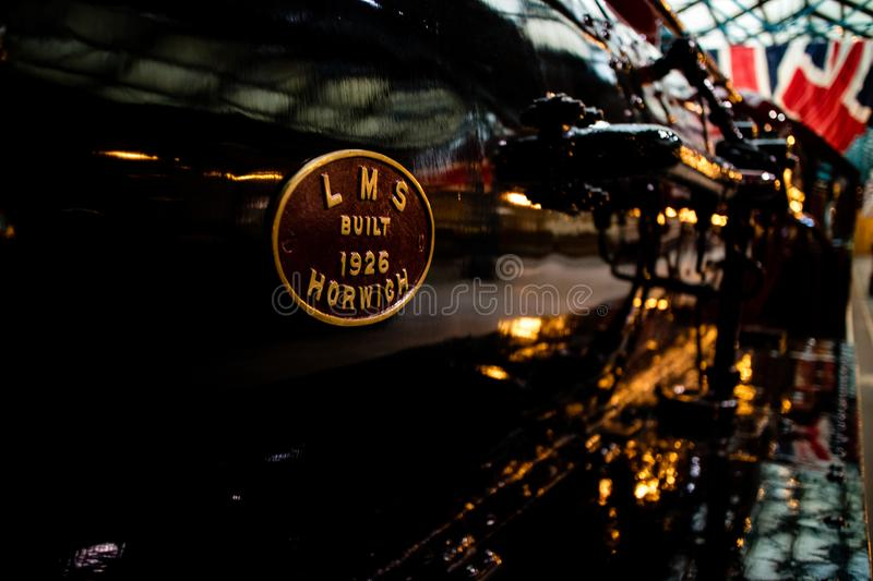 York, United Kingdom - 02/08/2018: York, United Kingdom - 02/08/2018: A close up of the sign on the side of an LMS steam. York, United Kingdom - 02/08/2018: York stock image